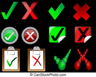 tick and cross signs right and wrong signs vector...
