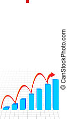 business graph with arrow showing