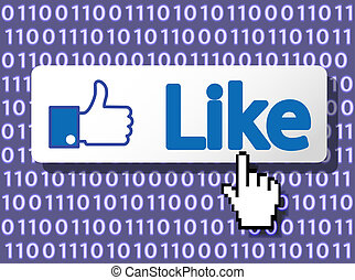 Like Button with Hand Cursor. Vector Illustration.