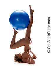 beatiful nude woman wiht ball isolated on white - beatiful...