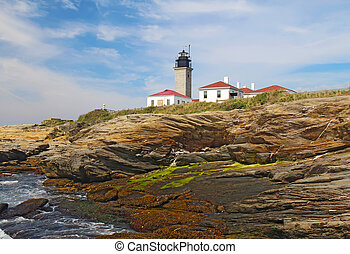 The Beavertail Light on Conanicut Island, Rhode Island - The...