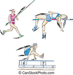 Pole vault, High jump and Long jump - Athletics Jumping:...
