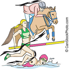 Modern Pentathlon: Equestrian, Running and Swimming. Color...