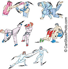 Struggle and Fighting Sports: Boxing, Judo, Taekwondo,...