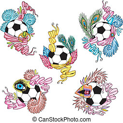 Stylized soccer balls with ribbons