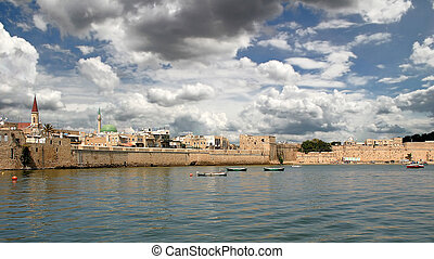 Ancient wall of Acre, Israel - View on ancient walls, houses...