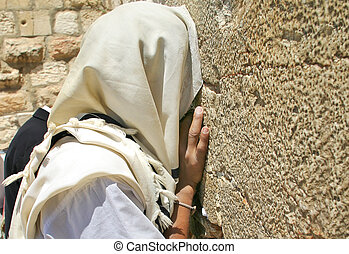 Prayer at Western Wall. Jerusalem, Israel. - Unidentified...