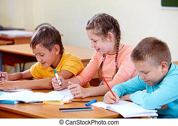 dibujo, compañeros de clase