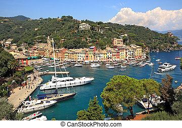Aerial view on Portofino, Italy.