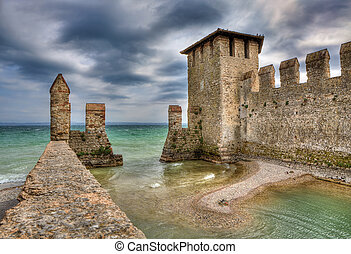 Castle of Sirmione, Italy. - Medieval castle in town of...