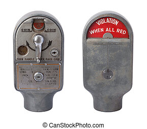 Antique Parking Meter Isolated on White