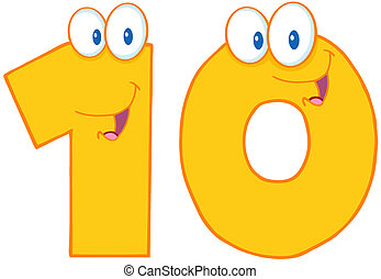 Yellow Number Ten - Number Ten Cartoon Character