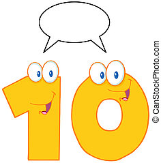 Yellow Number Ten Character - Number Ten Cartoon Mascot...