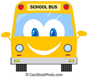 Funny School Bus Cartoon Character
