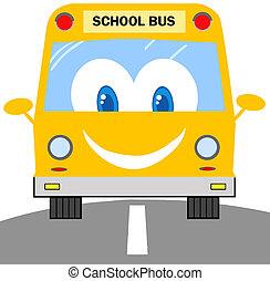 School Bus Cartoon Character - Smiling School Bus Travel...