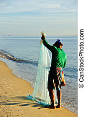 A man throw fishing net, Thailand