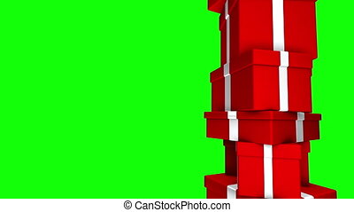 Pile of Gifts Red Loop Green Screen - Stack of red presents...
