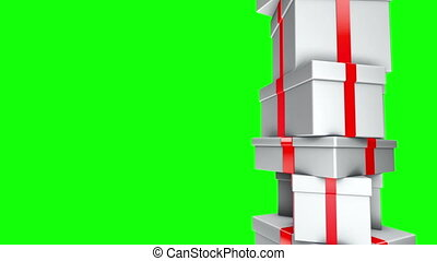 Pile of Gifts - Loop Green Screen - Stack of white presents...