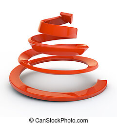 Red spiral and arrow on white background. business metaphor