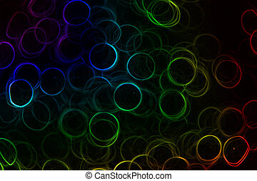 Rainbow Neon Rings - Abstract Neon rainbow colored rings on...