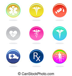 Medical icons in color circles on white background
