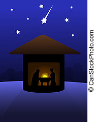 Nativity silent night scene.
