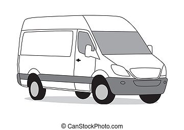 Delivery van white on white background