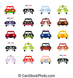 City cars in color - City cars front view illustration...