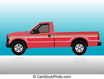 Pick-up truck red on color gradient background.