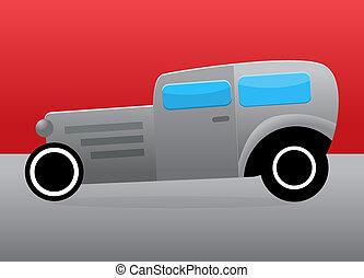 Hot rod car isolated on white background.