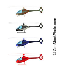 Helicopter four color options isolated on white. Vector...