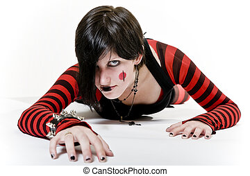 Crawling Goth Girl - Goth girl with a fierce look, crawling...