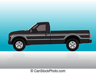 Pick-up truck black on color gradient background.