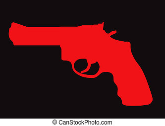 Hand gun silhouette isolated on color background