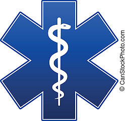 Emergency star blue on white background.