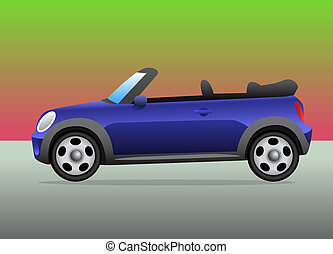 Small sports car convertible with color background