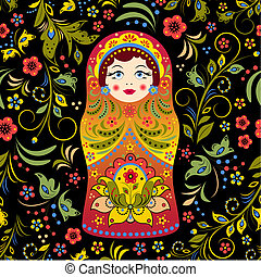 russian doll - Vector illustration of seamless pattern with...