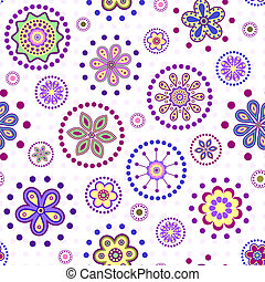 abstract flowers - Vector illustration of seamless with...