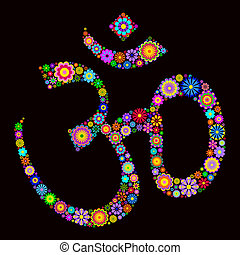 om sign - Vector illustration of Ohm symbol made of flowers...