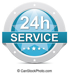 24 hours Service - blue 24 hours 7 days service button