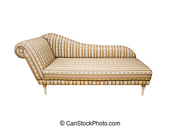 Settee - An old fashion sofa with stripes on white...