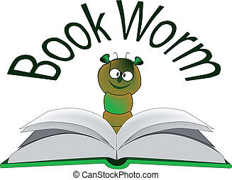 The Bookworm - A bookworm reading a large hardcover book