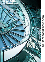 Stairs curve - Big office building stairway curve with...