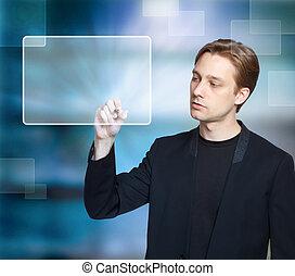 Man pressing modern touch screen button