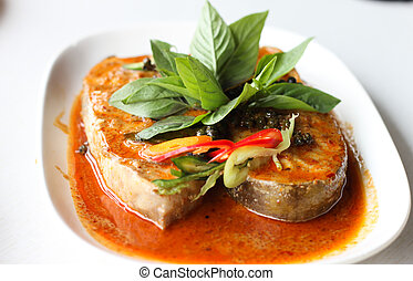 Fish in Dried Red Curry, Thai food