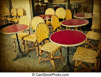 old-fashioned Cafe terrace - old-fashioned coffee terrace...