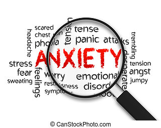 Anxiety - Magnified Anxiety word illustration on white...