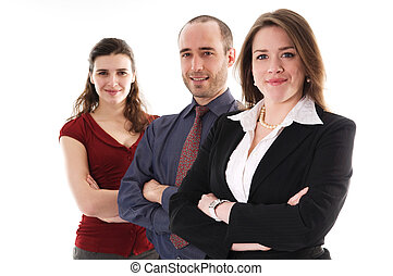 Business Team - business people on an isolated white...