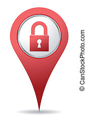 red location padlock icon