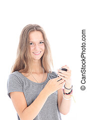 Girl reading a text message